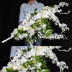 """Girlanda kwiatowa 3D BIAŁA """"M"""""""
