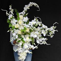 "Girlanda kwiatowa 3D BIAŁA ""XL"""