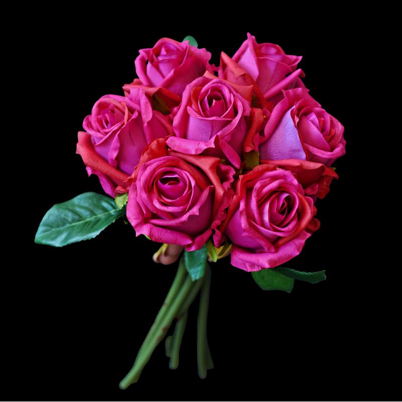 Bukiet róż FUKSJA - EXCLUSIVE 7szt.