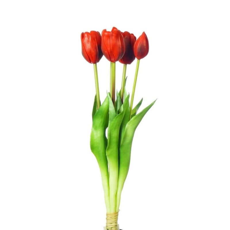 Bukiet tulipanów x 5 SILIKONOWY - CZEROWNY